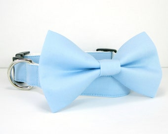 Wedding dog collar-Light Blue Dog Collars with bow tie set  (Mini,X-Small,Small,Medium ,Large or X-Large Size)- Adjustable