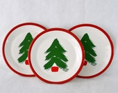3 Marimekko/Pfaltzcraft 8-inch Christmas Tree Salad Plates | White Pottery w Bright Green & Red Brush Stroke Christmas Tree | 1980s Hudson's