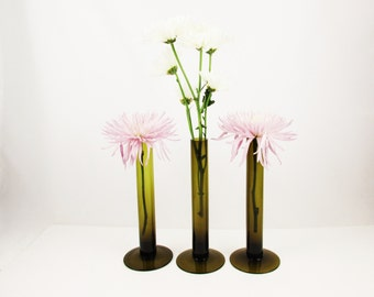 Three Deep Olive Green Glass Tube Vases - Modernist and Minimalist - Wide Bases - Simple Structure - Bud Vases - Collectible Glass