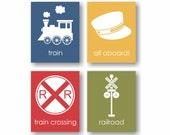 Train Nursery Art, Railroad Art, All Aboard, Railroad Crossing, Train Conductor, Boys Bedroom, Toddler Room Decor, Children Decor