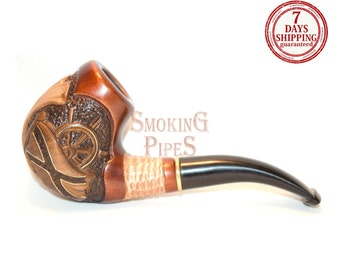 "Tobacco Smoking Pipe ""NAUTILUS"". Smoking Pipe. Woodcarved smoking pipe. Handmade, Handcarved, Tobacco pipes"