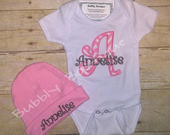 Baby girl's monogrammed beanie hat and applique chevron w/ name bodysuit for hospital / baby shower / new baby / baby gift / Coming home /