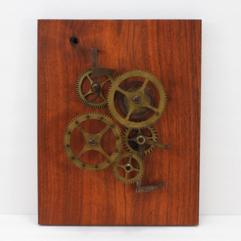 Vintage Steampunk Wall Art Objet Hanging Clock Gears By
