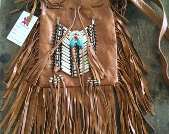 Tan leather fringe bag