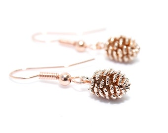 Pine Cone Earrings, Rose Gold Pine Cone, Rose Gold Jewellery, Autumn Earrings, Gift for Her, Birthday Gift, Sister Gift, Cute Earrings