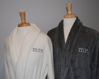 Mr. and Mrs. (new last name) Custom Embroidered robes!  Luxury at its finest!