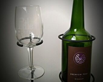 4 Outdoor Wine Glass & 1 Wine Bottle Holder-Blacksmith Made-Ornamental-Wine glass rack-Wine accessories
