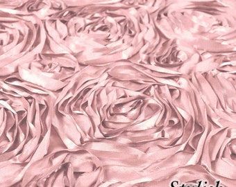 Dusty Pink Satin Rosette Fabric, Floral Satin Fabric, 3D Rosette Fabric by the yard, Rosette Fabric Flower Satin- Style 1601