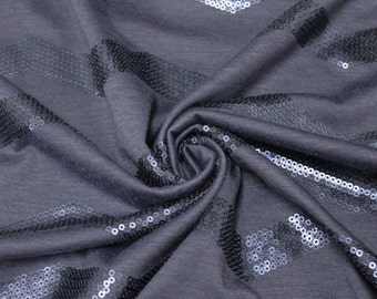 Navy Sequin on Navy Jersey Knit Fabric by the yard - 1 Yard Style 2867