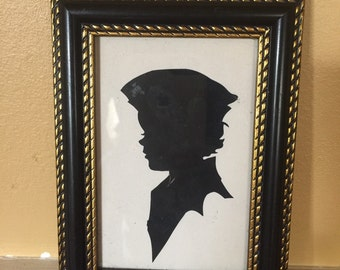 Country Vintage Little boy Silhouette Framed