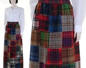 Vintage 1980s Women's Highland Queen Long Multi-Plaid Skirt / Tartan Patchwork Skirt / Fully Lined /