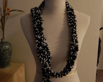 Black and White Fluffy Scarf