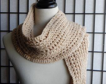 Tan Waffle Weave Stitch Crochet Scarf