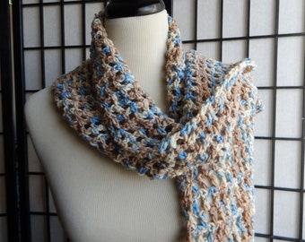 Blue, Beige, Cream Ruffle Crochet Scarf