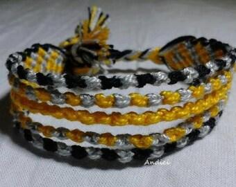 Friendship Bracelet, Macrame, Woven Bracelet, Wristband, Knotted Bracelet - Black Gray Yellow Shades