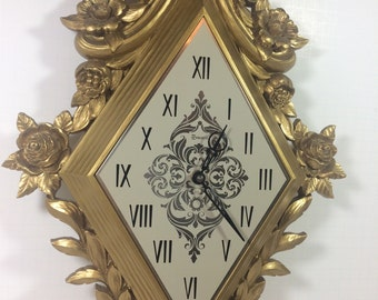 Vintage 1960s Mid Century Gold Clock by Syroco Hollywood Regency