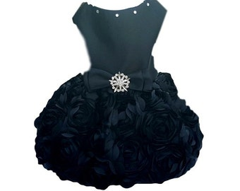 Dog Dress, Dog Clothing, Dog Wedding Dress, Pet Clothing, Black Satin with Rosette Skirt