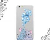 iPhone and Galaxy Soft TPU Phone Case Back Cover Cute Cartoon Elephants Air Bubbles  UV0317