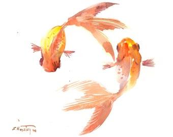 """Goldfish, Original watercolor painting, 12"""" X 9"""", KOI fish, two goldfish, two koi, Feng shui art, Goldfish, minimalist fish art design"""