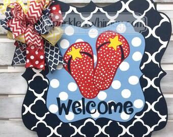 Summer Door Hanger: Welcome Flip Flops (Red White Navy and Light Blue)