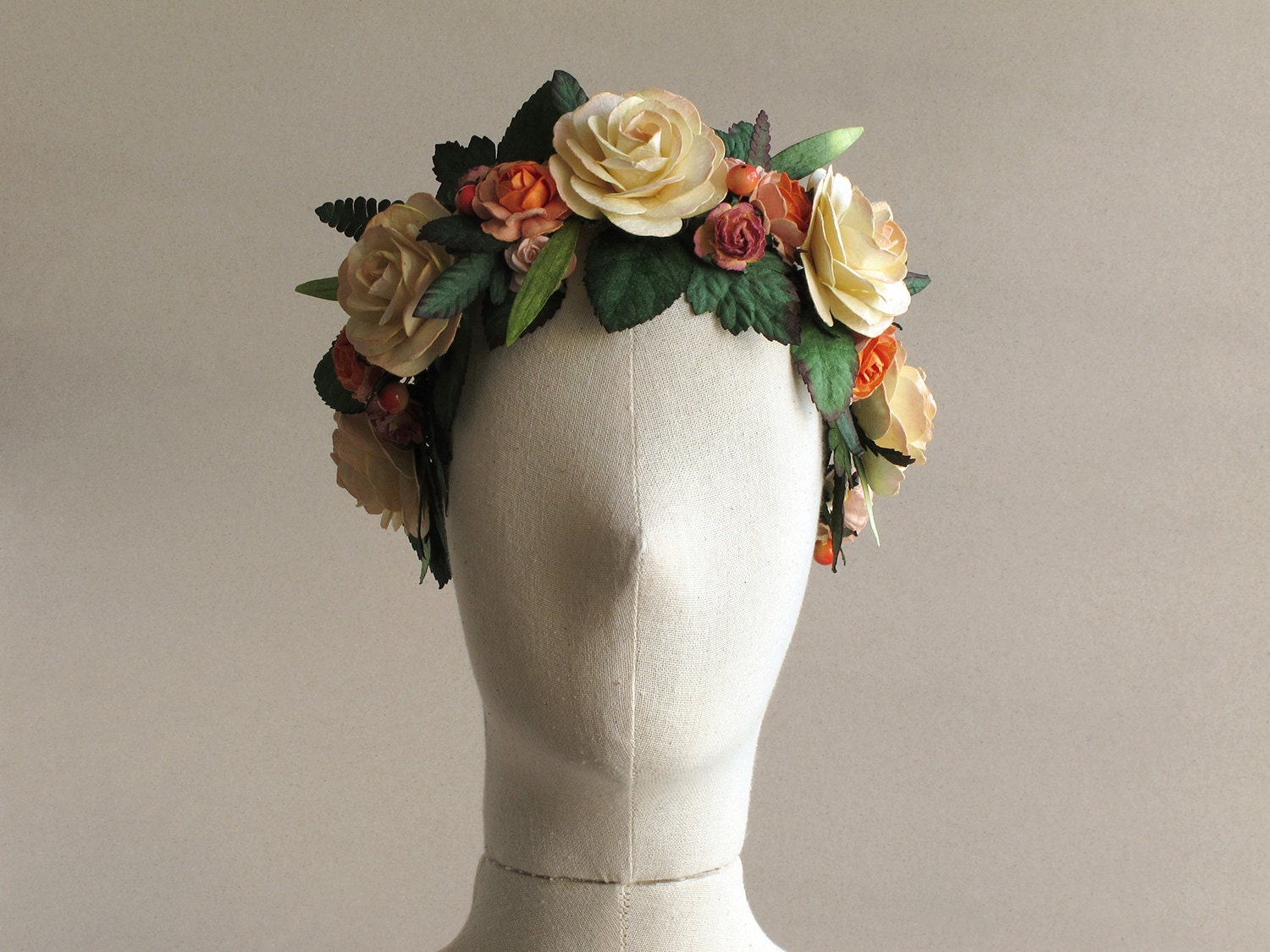Peach Flower Crown Large Boho Headband Made Of Mulberry Paper