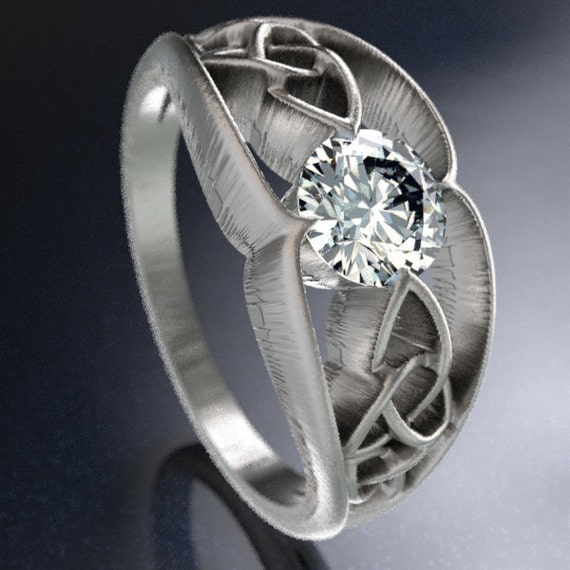 Celtic Wedding Ring With Trinity Knot Design With Moissanite Stone in Sterling Silver, Made in Your Size CR-1048
