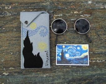 Glasses Case Van Gogh, Starry Night Sunglasses Case, Hand Embroidered Eyeglasses Holder, Vegan Felt Spectacle Case