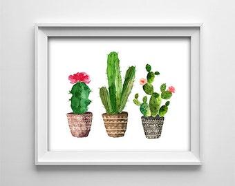 Southwestern Cactus Kitchen Art Print - Botanical decor - Printable Download - Landscape - Watercolor effect - Green - Brown -  SKU:816