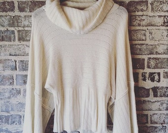 Cream White Cowl Neck Sweater Size XL
