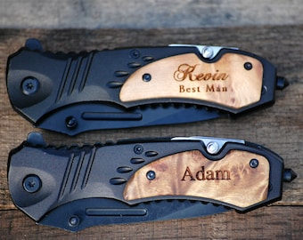 Personalized Knife Best Man Rescue Knife Groomsmen Gift Beer Opener Custom Knife Bottle Opener Wood Knife Engraved Knife Survival Knife