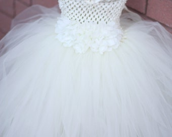 Ivory flower girl dress, flower girl dress, tutu dress