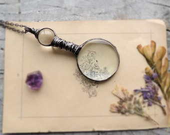 trending item, loupe necklace, Loupe Magnifying Glass Pendant, NOSTALGIC LOUPE, useful gift, pedant necklace, retro pendant