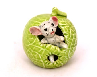 Retro Mouse In A Cabbage, China Mouse Figurine, Made In Japan, Vintage Napcoware, Cabbage Ornament, Vintage Mouse In A Lettuce, Kitsch Mouse