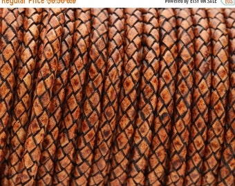 "Up to 40% Off 5mm Round Braided Leather Cord  -   2ft/24"" - Distressed Cognac - Wire Core"