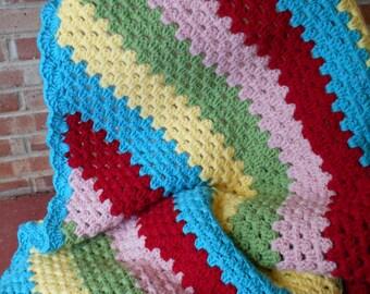 Large Crochet afghan sofa throw, Diagonal Granny Stripe throw, large multi color afghan, sofa throw, Ready to ship