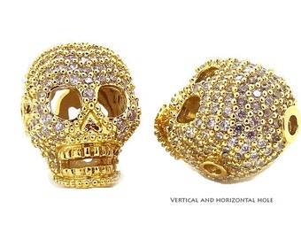 Pave Skull Bead, CZ Pave Skull Bead, CZ Micro Pave Skull, Sketelon bead, Gold Color, horizontal & Vertical Hole -BMP11-GOLD