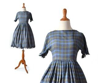 1950s Blue Dress, Blue 1950s Dress, 50s Blue Dress, Blue 50s Dress, Flannel Dress, Winter Dress, Small 1950s Dress, 50s Dress, Girls Dress
