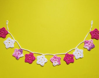 Pink Star Crochet Garland Bunting. Nursery Decor.