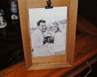 bordered clip board frame 4x6 size deep profile solid cedar pictures photos oak finish country rustic display