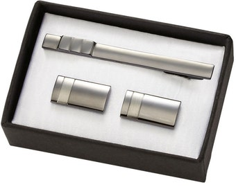 Personalized 2-tone Gunmetal Brass cufflinks & Tie Bar Set