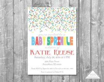 Baby Sprinkle Invitation, Baby Shower Invitation, Printable Invitation,  Printable PDF, Printable JPEG