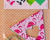 Heart Bunting Pack: Pink Flamingos, Animal Print and Green Leaves