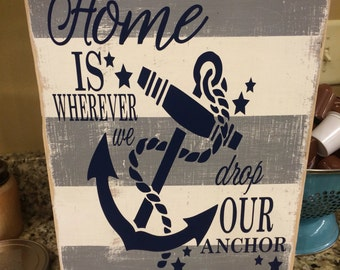 Distressed anchor sign