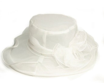 Beautiful Sheer Wide Brim Hat with detachable embellishment- White