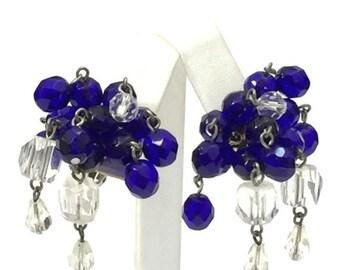 Deep Sapphire and Clear Glass Cha Cha Earrings, Glass Beads Dangle Earrings, Eight Dangles, 1940s 1950s