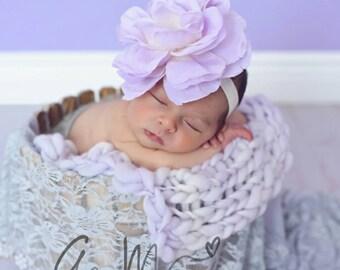 Newborn prop blanket, Thick and thin Bump Blanket, Chunky purple Layering Blanket, Basket Filler, Basket Stuffer, Lavender prop Blanket