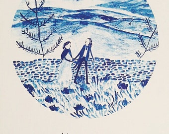 Wuthering Heights 'Heathcliff & Cathy walk along the moors' Giclee print