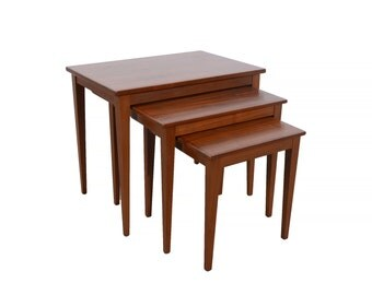 Walnut Nesting Tables Danish Modern Mid Century Modern