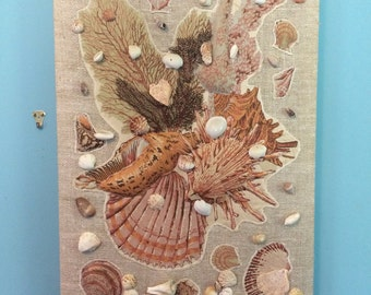 HUGE Amazing Retro kitsch Seashell Mixed Media Art, 30.5""