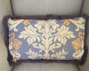 Rectangle Damask Upholstery Cushion Cover with fringing